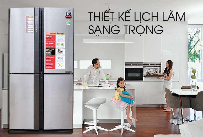 Tủ lạnh Sharp 626 lít SJ-FX630V-ST thiết kế sang trọng lịch lãm