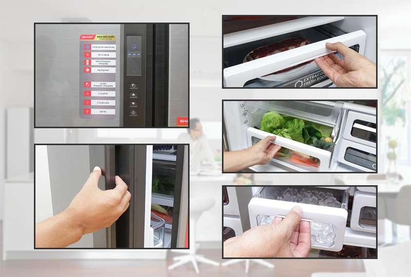 Tủ lạnh Sharp 626 lít SJ-FX630V-ST bảng điều khiển hiển thị ngoài