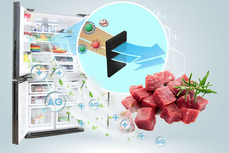 Tủ lạnh Sharp 626 lít SJ-FX630V-ST phần tử nano bạc