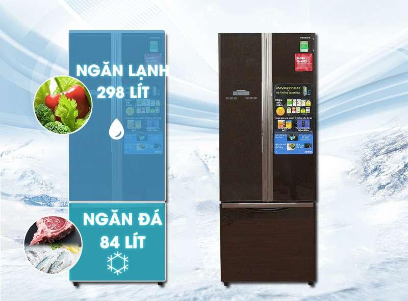 Tủ lạnh Hitachi 382 lít R-WB475PGV2-GBK thiết kế khoa học