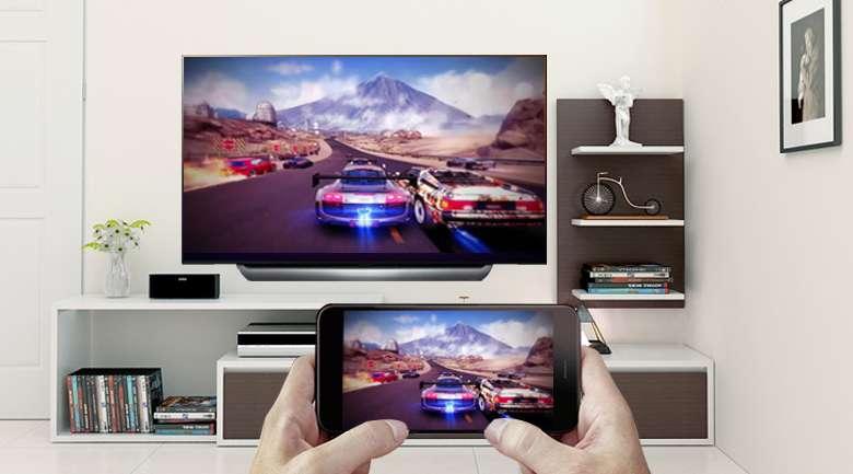 Smart Tivi OLED LG 4K 65 inch 65C8PTA chiều màn hình điện thoại lên tivi